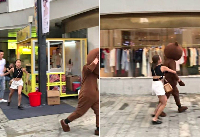 Cô gái đuổi theo bạn trai sau khi bị phát hiện phản bội hôm 19/7 ở Nhật Bản. Ảnh: Twitter.