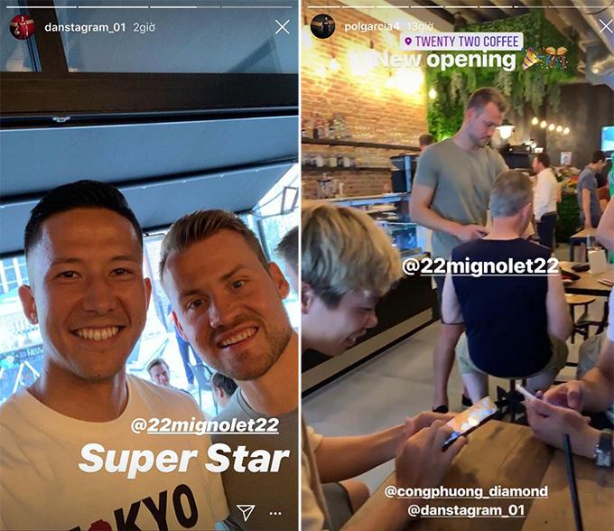 Daniel Schmidt và Pol Garcia đăng ảnh chụp tại quán café củaSimon Mignolet, nơi Công Phượng cũng có mặt. Ảnh: Instagram.