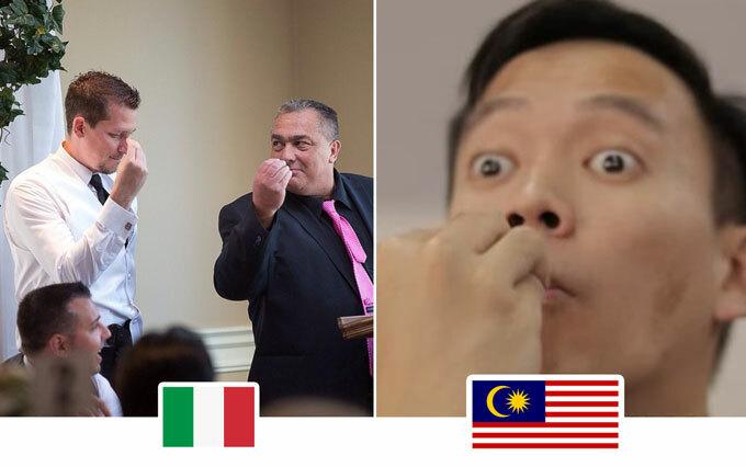 Chụm các đầu ngón tayĐây là ký hiệu quen thuộc ở Italy khi muốn biểu thị ai đó đang nói không rõ ràng khiến họ chưa hiểu. Còn ở Malaysia, nó có nghĩa là chờ một phút, nếu đưa vào miệng thì có nghĩa là ăn.