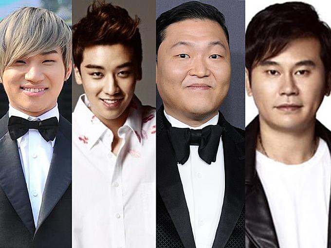 Daesung, Seungri, PSY, Yang Hyun Suk (từ trái qua phải) là những cái tên dính líu đến bê bối mại dâm.