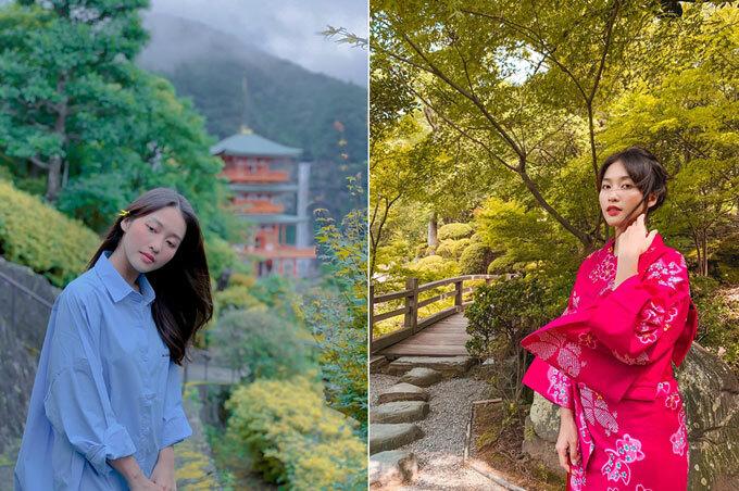 Khả Ngân lặn lội tới thăm ngôi đền Kumano Nachi Taisha nổi tiếng ở Wakayama (Nhật Bản) - nơi nổi tiếng với ngôi đền gỗ màu đỏ bên dòng thác tung bọt trắng xóa.
