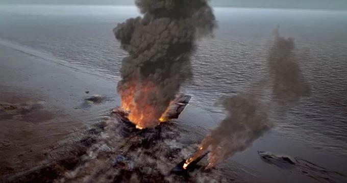 Một cảnh cháy nổ trong phim.