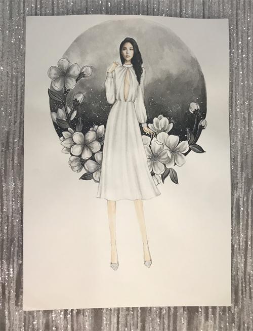 Váy có chiều dài qua đầu gối là lựa chọn phổ biến của cô dâu để tiếp đón khách tại sảnh tiệc hoặc chào bàn.