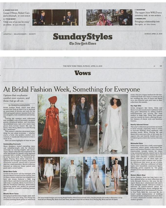 Tờ New York Times ưu ái bình chọn Espoir là một trong những BST ấn tượng và nổi bật nhất trong New York Fashion Week Bridal bên cạnh những tên tuổi lớn trong ngành thời trang.