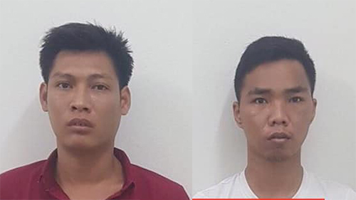 Nguyễn Quang Đồng và Lê Hồng Hùng tại cơ quan điều tra. Ảnh: Công an Hà Nội.