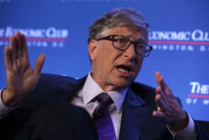 Tỷ phú Bill Gates nói về tác hại của biến đổi khí hậu tại hội nghị Economic Club of Washington vào tháng vừa 7 qua tạiWashington. Ảnh: Msn.
