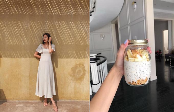 Tăng Thanh Hà đa dạng hóa thực đơn với món granola làm từyến mạch mix cùng hạt ngũ cốc, sữa hạnh nhân... để qua đêm.
