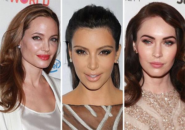 Những người đẹp yêu thích dáng lông mày vòng cung sắc sảo là Angelina Jolie, Kim Kardashian, Megan Fox...
