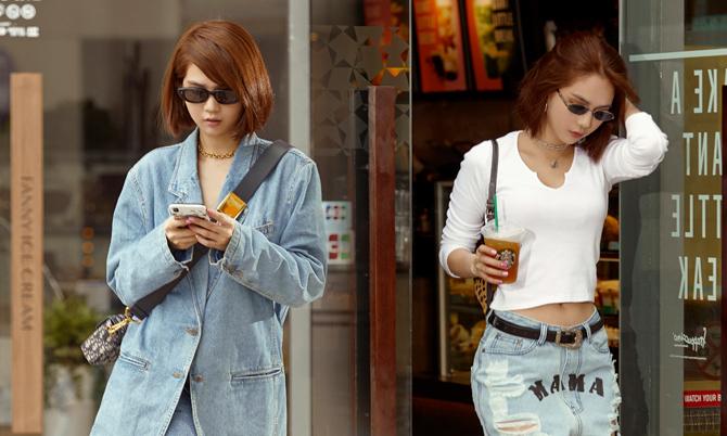 Ngọc Trinh mix đồ jeans cho street style