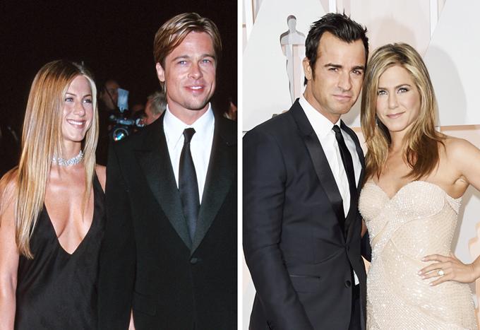 Jennifer Aniston đã trải qua hai cuộc hôn nhân đổ vỡ với các tài tử Brad Pitt và Justin Theroux (ảnh phải)