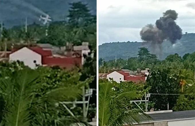 Khoảnh khắc trực thăng rơi ở khu nghỉ mát tại thành phố Calamba, Philippines chiều 1/9. Ảnh: Viral Press.