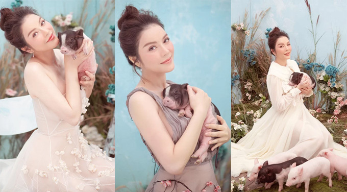 Khi thực hiện những bộ ảnh thời trang, Lý Nhã Kỳ luôn thực hiện theo chủ đề. Trước đó, để chào đón năm 2019, cô thuê một đàn heo gần 10 con diễn cùng.