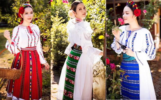 Nữ diễn viên thường xuyên kết hợp công việc, du lịch và chụp các bộ ảnh thời trang tại mỗi nơi cô đến. Trong ảnh, Lãnh sự danh dự Romania tại TP HCM mặc trang phục họa tiết truyền thống của người địa phương dạo chơi, ngắm cảnh thiên nhiên.