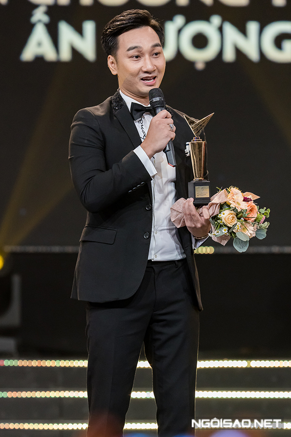 Thành Trung nhận giải MC ấn tượng. Đây là lần thứ hai anh được vinh danh ở hạng mục này trong vòng 3 năm. Năm vừa qua, anh gây ấn tượng bởi chương trình Quý ông đại chiến.