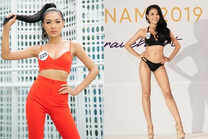 Giống chị gái Hoàng Thùy, Hoàng Linh sở hữ vẻ ngoải cá tính, biểu cảm mạnh mẽ khi xuất hiện tại địa điểm sơ khảo. Cô nằm ở top thí sinh tiềm năng với chiều cao 1,68m, tốt nghiệp Đại học Luật TP HCM.