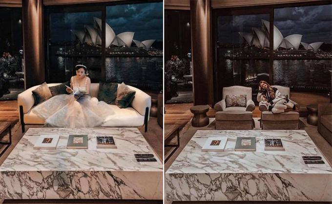 Mina thảnh thơi ngồi đọc sách trong căn phòng sang trọng, phía ra là nhà hát Opera Sydney nổi tiếng thế giới. Nhưng khung cảnh lại khá giống với bức ảnh Tarađăng ngày 2/6 tại khách sạnPark Hyatt Sydney. Thứ duy nhất khác nhau là chiếc ghế đôi đã được thay thế bằng chiếc salon dài màu trắng.