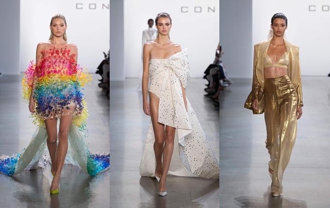 Người đẹp liên tục cập nhật hình ảnh người mẫu quốc tếdiện các thiết kế của Công Trí,trong đó có thiên thầnVictoria Secret Elsa Hosk (ngoài cùng bên trái). Cô ấn tượng với hơn 60 mẫu trang phục cắt xẻ sâu, khai thác tối đa vẻ nữ tính trong bộ sưu tập.