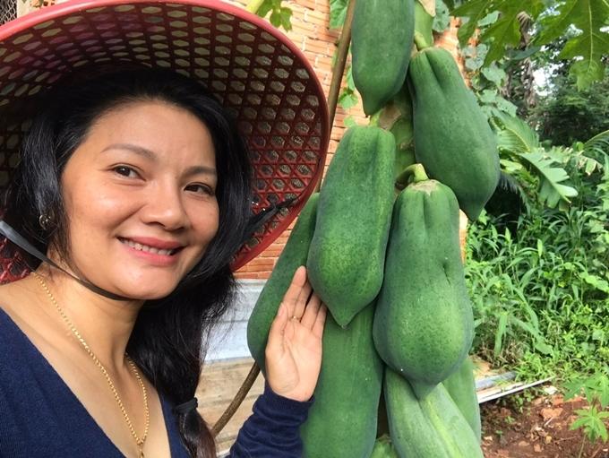 Vì là nguồn cung cấp thực phẩm cho gia đình, cô chăm sóc hết sức kỹ lưỡng, sử dụng phân bón hữu cơ, tuyệt đối tránh các loại thuốc sinh học.
