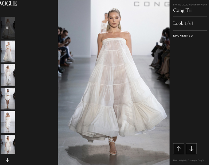 Trên tạpchí Vogue  đăng tải đầy đủ 60 thiết kếcủa Công Trí trên trang của mình hạng mục runway.