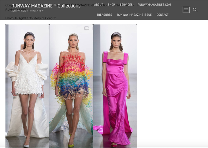 Ngoài Vouge, Harper Bazaar, nhiều tạp chí thời trang uy tín tại Mỹ cũng đăng tải thông tin về bộ sưu tập Xuân Hè 2020 của Công Trí.