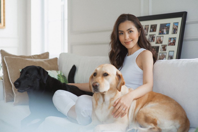 Tăng Thanh Hà vốn yêu động vật và nuôi hai chú chó ở nhà.