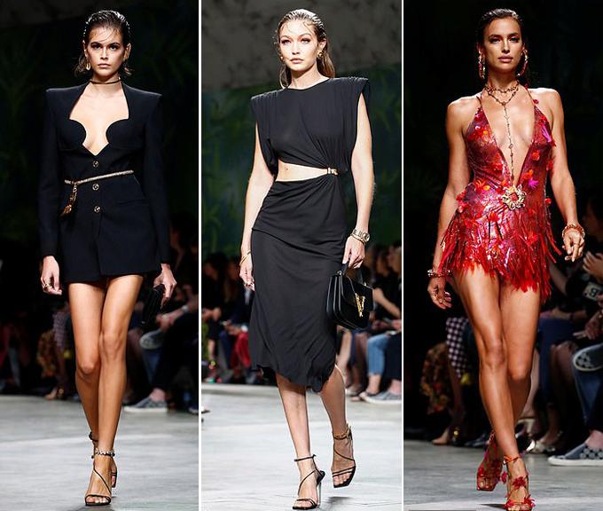 Nhiều siêu mẫu trình diễn trong show Versace như Kaia Gerber, Gigi Hadid và Irina Shayk.