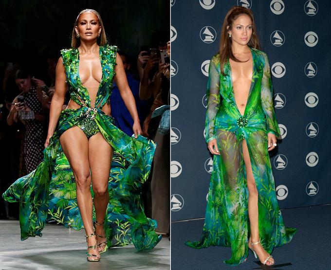 Điều khiến màn trình diễn này đặc biệt hơn nữa là chiếc váy Jennifer mặc được lấy cảm hứng từ trang phục nổi tiếng của cô tại lễ trao giải Grammy 2000 (bên phải). Bộ đầm đó gây sốt suốt nhiều năm và trở thành một trong những trang phục sexy nhất trên thảm đỏ Hollywood mọi thời đại. Sau 20 năm, khi mặc lại chiếc váy kiểu cũ, Jenniferkhiến mọi người phải xuýt xoa vì thân hình vẫn đẹp như xưa, thậm chí còn săn chắc hơn.