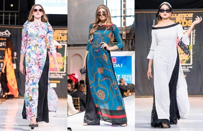 Các mẫu áo dài được trình diễn bởi dàn nghệ sĩ hải ngoại.