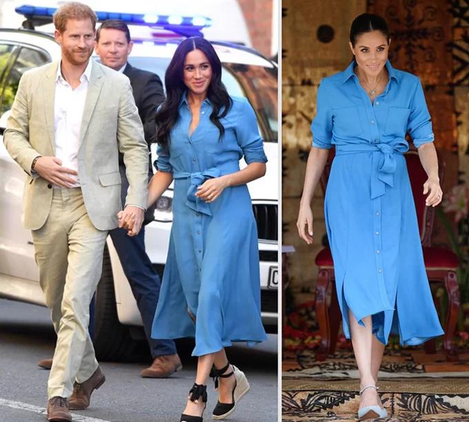 Nữ công tước xứ Sussex diện chiếc váy midi màu xanh da trời trị giá gần 600 USD ở Cape Town hôm 24/9 (ảnh trái). Côtừng mặc chiếc váy này ở Tonga vào tháng 10/2018 (ảnh phải). Ảnh: UK Press.