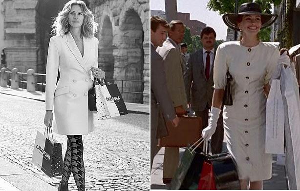 Chiến dịch quảng cáo mới lấy cảm hứng từ cảnh quay mua sắm của Julia trong phim Pretty Woman năm 1990 (ảnh phải). Cô bước ra khỏi cửa hàng với tâm trạng vui sướng, hạnh phúc sau khi mua được những món đồ ưng ý.