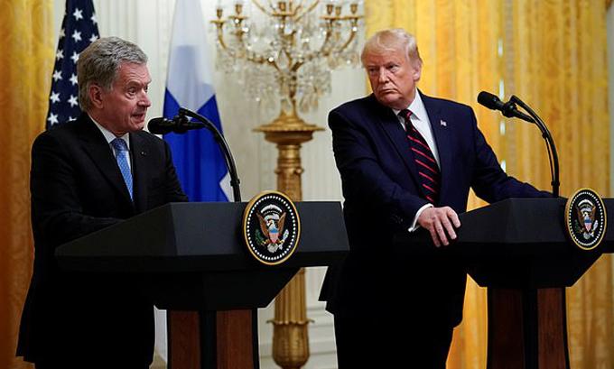 Tổng thống Phần Lan phát biểu trong cuộc gặp vớiTổng thống Mỹtại Nhà Trắng hôm 2/10. Ảnh: Reuters.