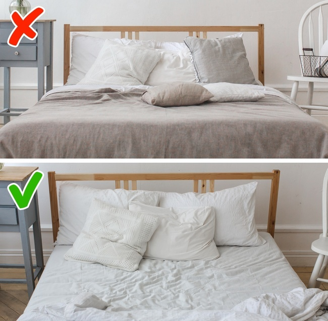 Dọn dẹp giường ngủ ngay sau khi thức dậyDọn dẹp giường ngủ là một thói quen tốt nhưng đừng làm việc đó ngay khi vừa thức dậy. Bạn nên vệ sinh cá nhân và chuẩn bị các việc khác cho buổi sáng rồi mới quay lại dọn giường và ra khỏi nhà. Chăn gavẫn còn hơi ấm của cơ thể là môi trường thích hợp để vi khuẩn trú ngụ, vì vậy, bạn nên chờ một thời gian để chúng phân tán hết rồi mới dọn giường.