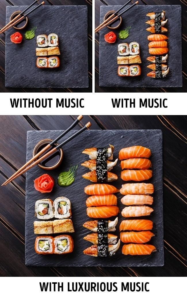 Đầu tư âm nhạcTheo nghiên cứu, thực khách có xu hướng ăn nhiều hơn khi sống trong môi trường có âm nhạc du dương. Khi đó,hệ thần kinh cảm thấy thư thái, thoải mái, hệ tiêu hoá hấp thụ tốt, giúp bạn có cảm giác ăn ngon miệng và muốn ăn thêm. Thậm chí, với nhạc giao hưởng hay nhạc cổ điển - loại nhạc cao cấp hơn thì thực khách sẵn sàng chi tiêu nhiều hơn 10% để trả cho đẳng cấp của bữa ăn đó. Ngoài ra, mỗi loại nhạc cũng phù hợp với các phong cách ẩm thực khác nhau: nhạc Pháp phù hợp để bán rượu vang, dân ca Ireland thích hợp để bán bia.