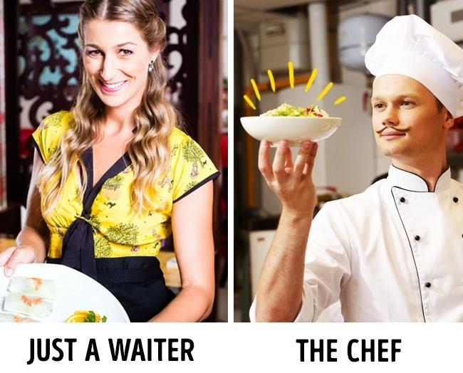 Tận dụng danh tiếng của đầu bếpDanh tiếng của những vị đầu bếp thường rất có sức ảnh hưởng. Bất kỳ món ăn nào được đóng mác đặc sản của đầu bếp sẽ luôn nổi bật trong mắt khách hàng khiến họ nhanh chóng chọn lựa. Đó là chưa kể đến một số món ăn đặc biệt còn được đích thân các đầu bếp bưng ra bàn. Do đó, một số phục vụ còn đóng giả làm đầu bếp khi đứng trước khách hàng.