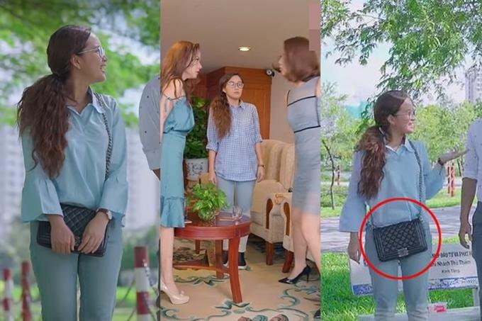 Phương Hằng mặc duy nhất chiếc quần jeans xanh trong nhiều tập phim.