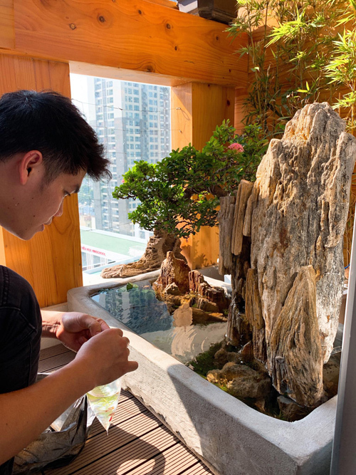 Theo Trung Kiên, khâu quan trọng hơn cả khi làm bể cá là lọc nước. Trên thị trường bán nhiều loạinhưng ông bố hai con quyết định tự chế bộ lọc bằng ống nhựa PVC. Anh cắm bộ lọc nước chạy trong5 ngày rồi mới bắt đầu thả cá.