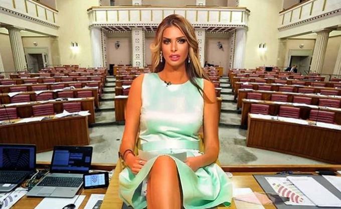 Cựu người mẫu Playboy được người hâm mộ photoshop ảnh ngồi giữa tòa nhà quốc hội của Croatia. Ảnh: Instagram.