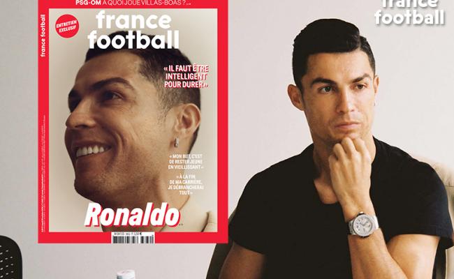 C. Ronaldo trên bìa tạp chí France Football một tháng trước khi lễ trao giải Quả bóng vàng diễn ra khiến nhiều người tin rằng anh sẽ là chủ nhân của danh hiệu cá nhân cao quý năm nay. Ảnh: FF.