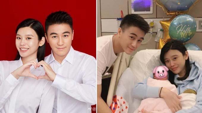 Hà Du Quân và vợ, siêu mẫu Hề Mộng Dao, bên con trai mới sinh. Ảnh: ENT/ Instagram.