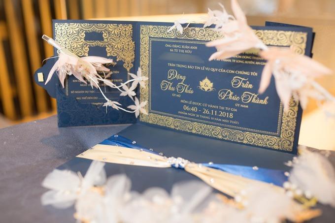 Thiệp cưới của Hoa hậu Đại dương Đặng Thu Thảo cách đây một năm.
