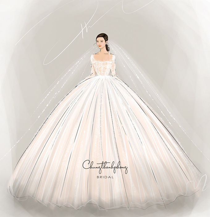 Đầm cưới chính của tân nương được kết hợp với voan cưới dài.