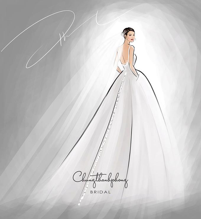 Mẫu váy đón khách của Đông Nhi có khoảng hở, giúp cô dâu khoe khéo nét đẹp tấm lưng thon, nước da trắng ngần. Hàng cúc được chạy dài mặt lưng váy.