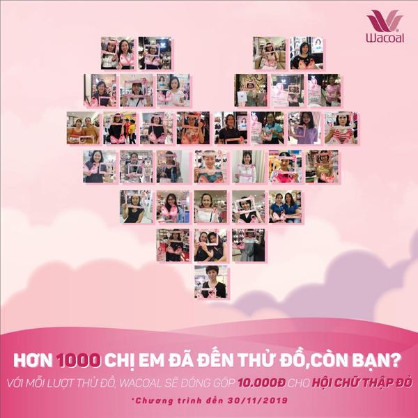 Chị em có thể chung tay quyên góp để đẩy lùi căn bệnh ung thư vú ác tính với chương trình Thử liền tay, Wacoal góp ngay 10.000 đồng. Chương trình diễn ra ở 20 cửa hàng tại Hà Nội và TP HCM, từ 17/10 đến 30/11.