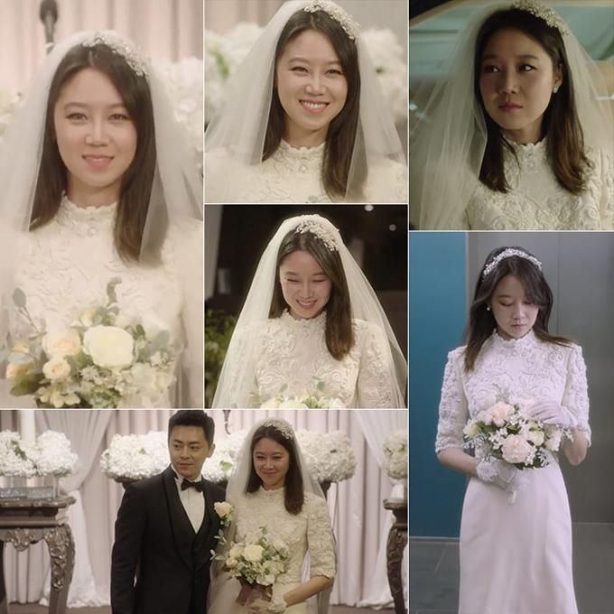 Gong Hyojin trong phim Dont dare to dream (Muôn kiểu ghen tuông)Trong tập cuối của bộ phim, Pyo Nari và Lee Hwashin đã cưới và tận hưởng một cuộc sống hạnh phúc. Cô dâu Pyo do Gong Hyojin hóa thân đã diện váy cưới cao cổ được điểm họa tiết cắt laser, tay áo lửng. Cô dâu đã kết hợp thêm phụ kiện găng tay, cài tóc ngọc trai, tạo nên vẻ đẹp cổ điển vượt thời gian. Thiết kế này là sản phẩm của thương hiệu váy cưới Bridal King.