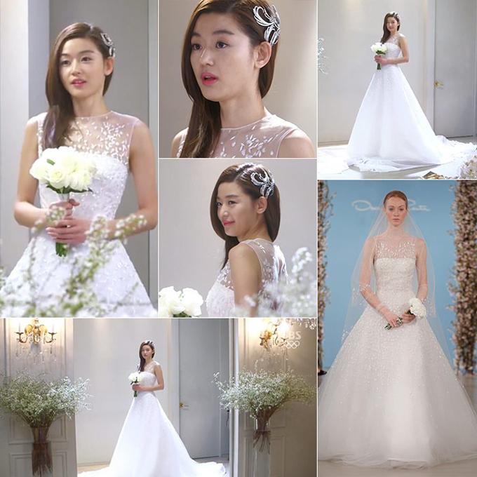 Jun Jihyun trong phim My love from the star (Vì sao đưa anh tới)Ở tập 18, nhân vật Cheon của Jun Jihyun đã diện một váy cưới củaOscar de la Renta mang kiểu dáng xòe bồng cổ điển. Váy được điểm sequin, có cổ illusion từ voan mỏng theo xu hướng thời trang cưới hiện đại.