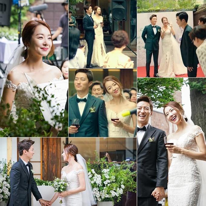 So Yihyun trong phim Euntourage (Người đồng hành)Diễn viên So Yihyn đã diện váy cưới trắng trễ vai của thương hiệu Hàn Quốc Vivatamtam trong bối cảnh phim. Váy có vai trễ, đường xẻ từ ngang đùi và được đắp ren. Cặp cô dâu chú rể trong phim cũng đã kết hôn ngoài đời thực.