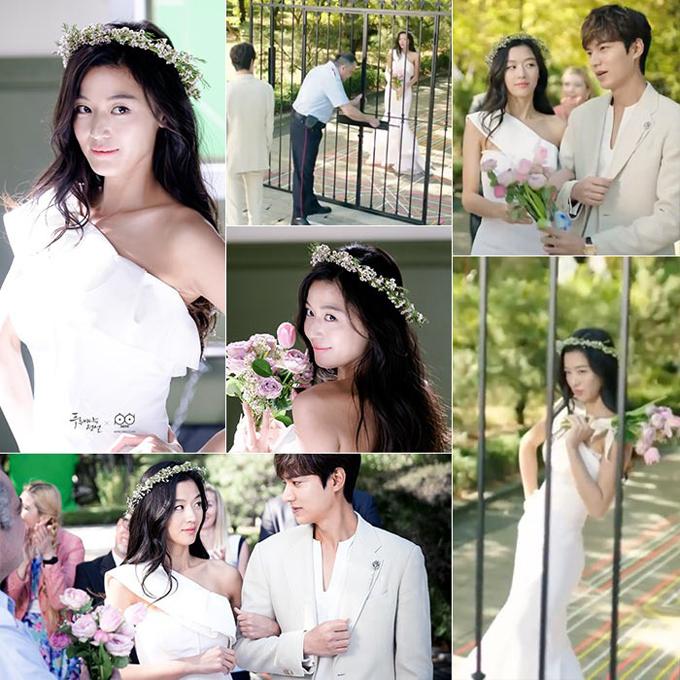 Bộ váy cưới tiếp theo mà nhân vật Shim Chung diện đến từ NTK Zac Posen. Váy tối giản có tay áo bất đối xứng, thiết kế đuôi cá. Vòng đội đầu của cô dâu kết từ cành nho, hoa bí đỏ.