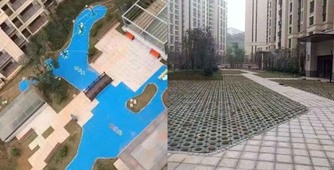 Sân chung cư ở Trường Sa, Hồ Nam, Trung Quốc, trước (phải) và sau (trái) khi được sơn màu xanh. Ảnh: China News.
