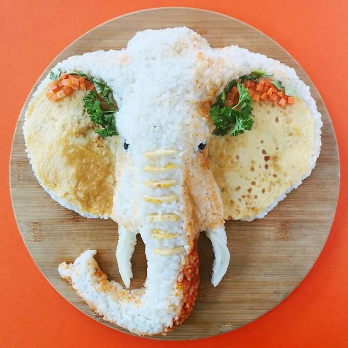 Cách tạo hình đĩa cơm hình động vật nhìn như thật - 2