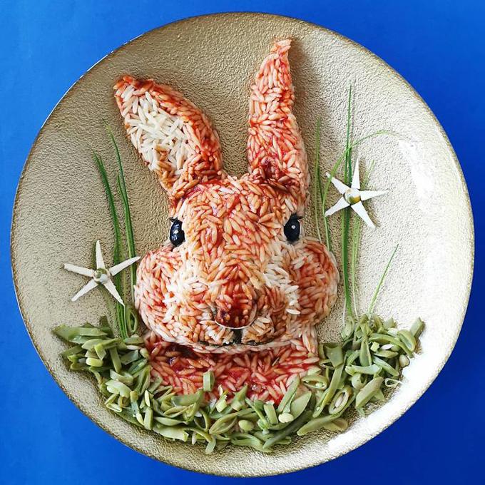 Cách tạo hình đĩa cơm hình động vật nhìn như thật - 7